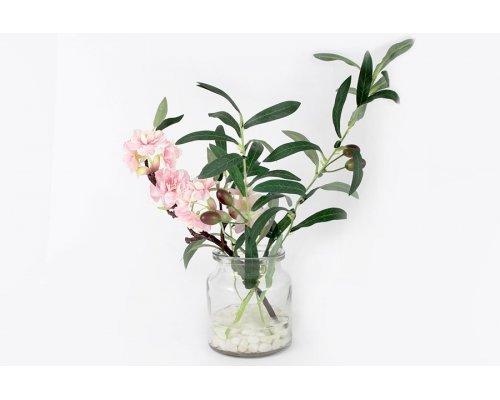 Декоративные цветы Dream Garden Сакура розовая и ветвь оливы в стеклянной вазе