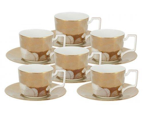 Чайный набор Лунная соната Голд Naomi: 6 чашек + 6 блюдец