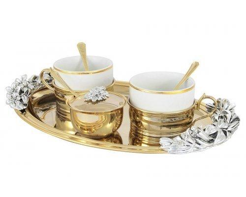 Чайный набор на 2 персоны золото/серебро Gamma Chinelli