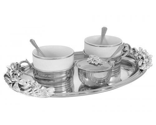 Чайный набор на 2 персоны с отделкой под серебро Gamma Chinelli