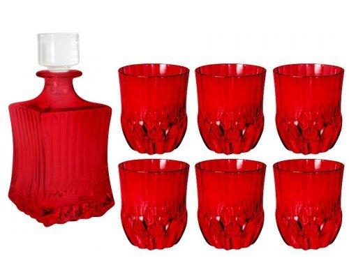 Набор для виски: штоф + 6 стаканов Same Адажио - красная