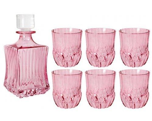 Набор для виски: штоф + 6 стаканов Same Адажио - розовая