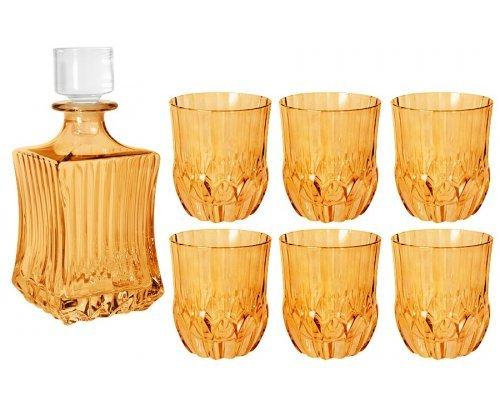 Набор для виски: штоф + 6 стаканов Same Адажио - янтарная