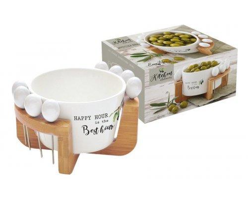 Набор для закуски: чаша для оливок + 8 шпажек на подставке Kitchen Elements Easy Life R2S в подарочной упаковке