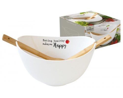 Салатник с ложками Kitchen Elements Easy Life R2S 28 см в подарочной упаковке