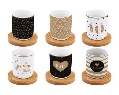 Набор: 6 чашек + 6 блюдец из бамбука для кофе Доброе утро Easy Life R2S в подарочной упаковке
