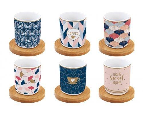 Набор: 6 чашек + 6 блюдец из бамбука для кофе Милый дом Easy Life R2S в подарочной упаковке