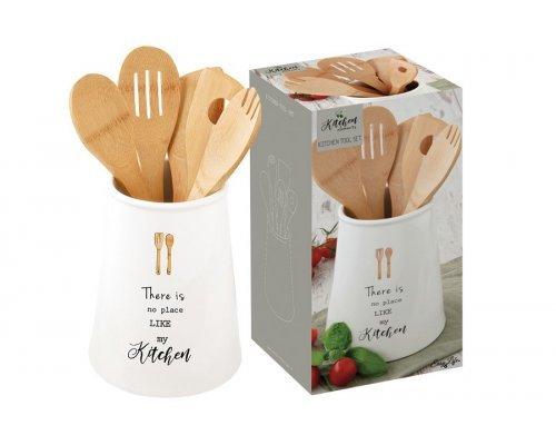 Банка-подставка с кухонными инструментами (5 инструментов из бамбука) Kitchen Elements Easy Life R2S в подарочной упаковке