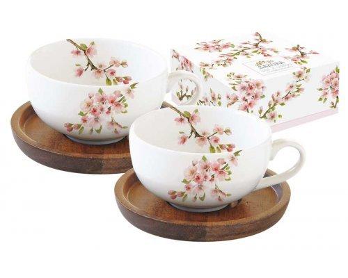 Набор из 2-х чашек для кофе с крышками/подставками из акации Японская сакура Easy Life R2S в подарочной упаковке