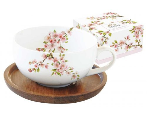 Чашка с крышкой/подставкой из акации Японская сакура Easy Life R2S в подарочной упаковке