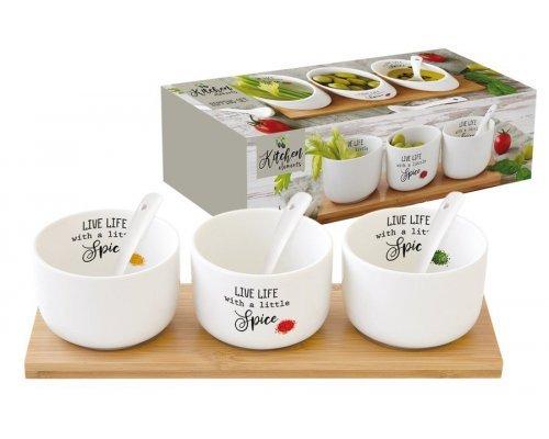 Набор для закуски: 3 салатника 8см с 3 ложками на подносе Kitchen Elements Easy Life R2S в подарочной упаковке