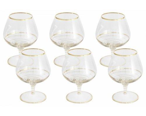 Набор: 6 бокалов для коньяка Same Спираль (золото)