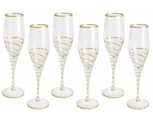 Набор: 6 бокалов для шампанского Same Спираль (золото)