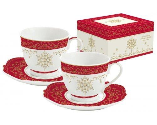 Набор для кофе новогодний: 2 чашки + 2 блюдца для кофе HERMITAGE Easy Life R2S (Изи Лайф) в подарочной упаковке
