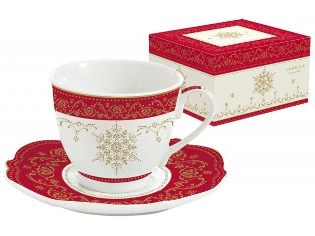 Чашка с блюдцем новогодняя HERMITAGE Easy Life R2S (Изи Лайф) в подарочной упаковке