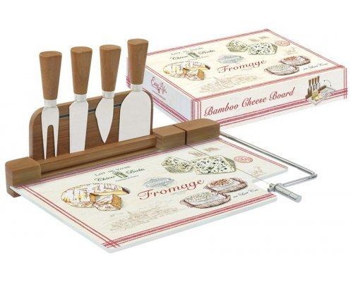 Набор для сыра: разделочная доска (стекло) + 4 ножа FROMAGE Easy Life R2S (Изи Лайф) в подарочной упаковке