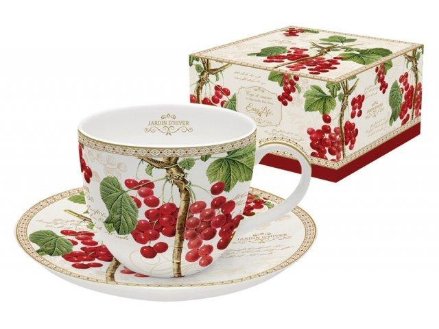 Чашка с блюдцем Красная смородина Easy Life R2S (Изи Лайф) в подарочной упаковке