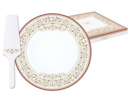 Набор д/ торта: блюдо + лопатка Новогодняя карусель Easy Life R2S (Изи Лайф) в подарочной упаковке