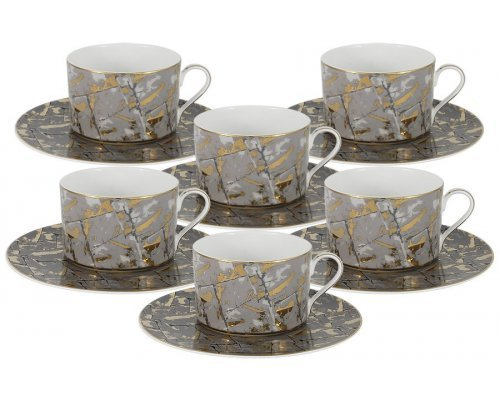 Чайный набор Злата Naomi: 6 чашек + 6 блюдец