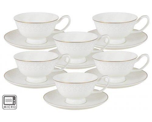 Набор для чая Кимберли 12 предметов: 6 чашек + 6 блюдец