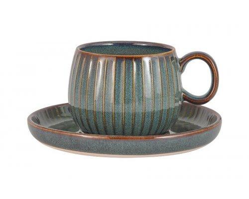 Чашка с блюдцем Comet (морская волна) в индивидуальной упаковке 0.18 л
