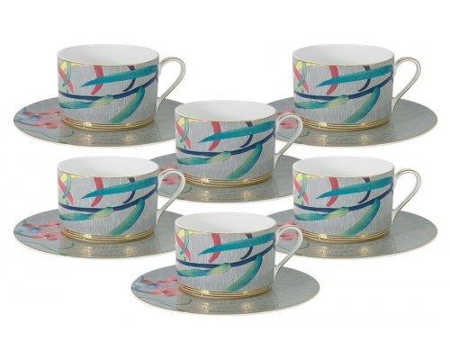Чайный набор : 6 чашек (серая) + 6 блюдец Восточная лилия