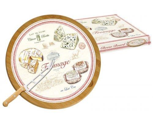 Блюдо для сыра (вращающееся) бамбук/стекло + нож FROMAGE Easy Life R2S (Изи Лайф) в подарочной упаковке