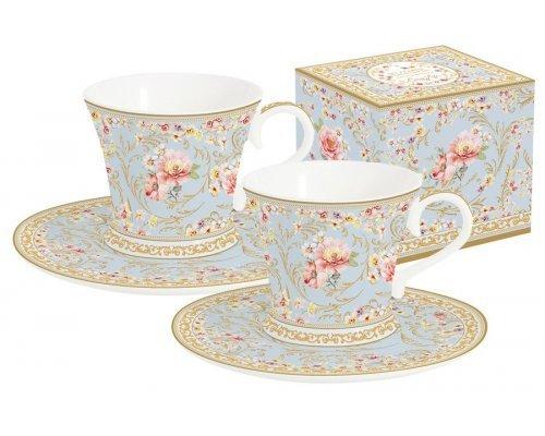 Набор: 2 чашки + 2 блюдца для кофе (голубой) Majestic в подарочной упаковке