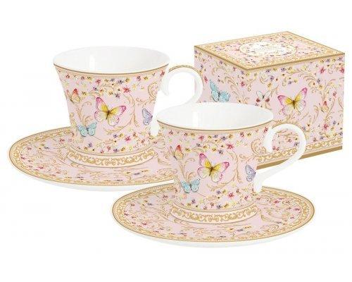 Набор: 2 чашки + 2 блюдца для кофе (розовые) Majestic в подарочной упаковке