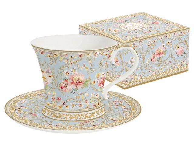 Чашка с блюдцем (голубая) Majestic в подарочной упаковке