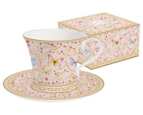 Чашка с блюдцем (розовая) Majestic в подарочной упаковке