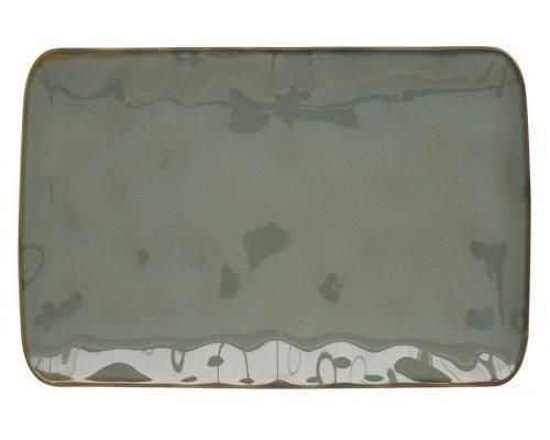 Тарелка прямоугольная большая (серый) Interiors без индивидуальной упаковки