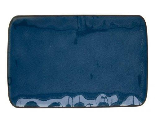 Тарелка прямоугольная большая (синий) Interiors без индивидуальной упаковки