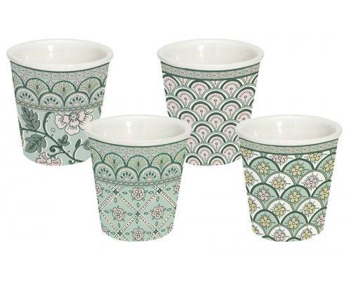 Набор из 4-х кофейных чашек (зелёный) Муссон в подарочной упаковке