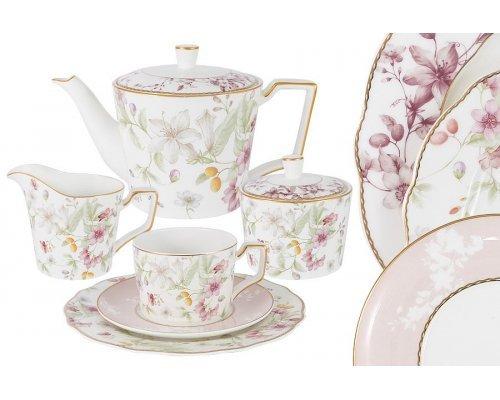 Чайный сервиз Цветы Anna Lafarg Emily 21 предмет на 6 персон
