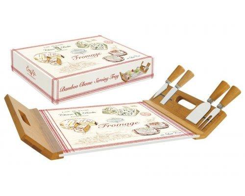 Поднос доска для сыра с 4-мя ножами, бамбук/стекло FROMAGE Easy Life R2S (Изи Лайф) в подарочной упаковке
