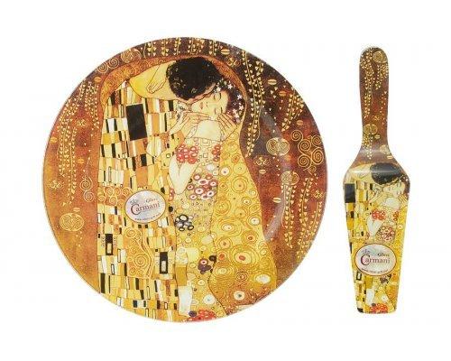 Набор для торта: блюдо с лопаткой Поцелуй (Г. Климт) в подарочной упаковке