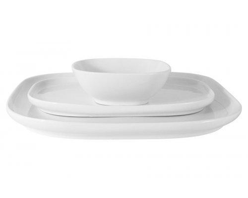 Набор посуды Форма Maxwell & Williams белый: 2 тарелки + салатник в подарочной упаковке