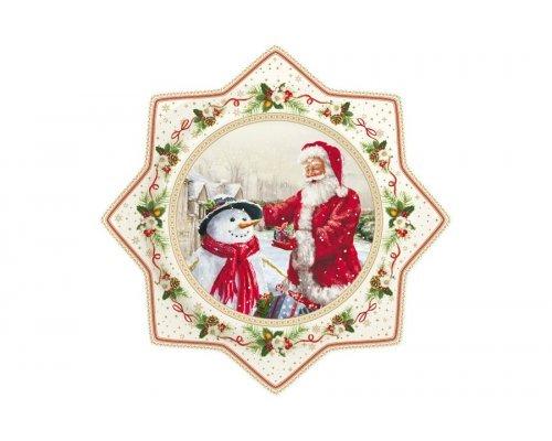 Блюдо для торта Дед Мороз и снеговик Easy Life R2S в подарочной упаковке