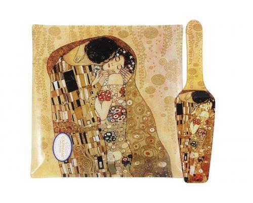 Набор для торта: блюдо квадратное с лопаткой Поцелуй (Г. Климт) в подарочной упаковке