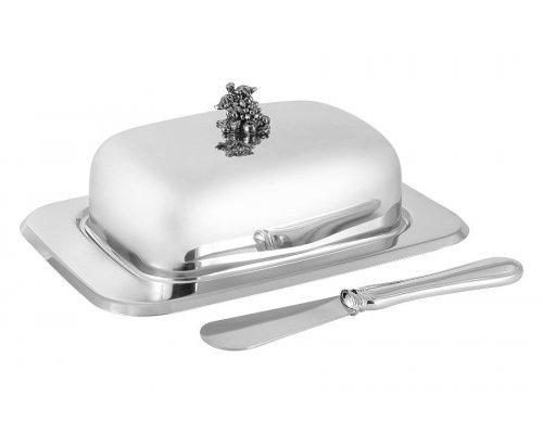 Маслёнка Винтаж Regent, крышка, нож, нержавеющая сталь