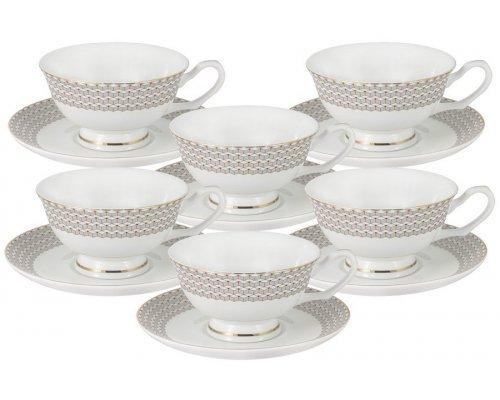 Набор для чая 12 предметов Скандинавия Anna Lafarg Emily: 6 чашек + 6 блюдец