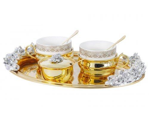 Чайный набор Giglio Gamma Chinelli на 2 персоны: поднос, 2 чашки, 2 ложки, сахарница с ложкой