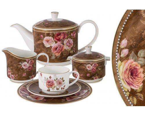 Чайный сервиз Английская роза Anna Lafarg Emily 21 предмет на 6 персон в подарочной упаковке