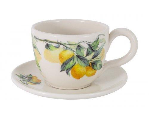 Чашка с блюдцем Лимоны Julia Vysotskaya без индивидуальной упаковки 0.4 л