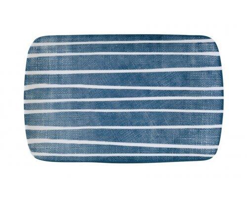 Блюдо прямоугольное (синий с белыми полосками) Бриз Easy Life (R2S) без индивидуальной упаковки