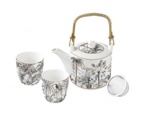 Набор для чая: чайник с ситечком и 2 чашки Джунгли Easy Life (R2S), ретро в подарочной упаковке