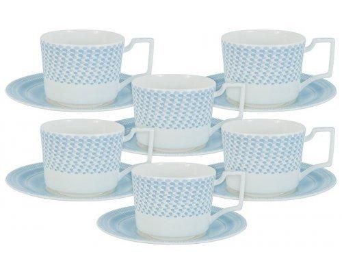 Чайный набор Блюз Naomi 0,25 л: 6 чашек + 6 блюдец