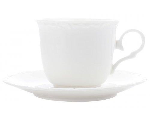 Белая фарфоровая чашка с блюдцем Florence, 0,2 л