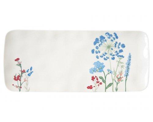 Блюдо прямоугольное Луговые цветы голубые Easy Life 36х15,5 см